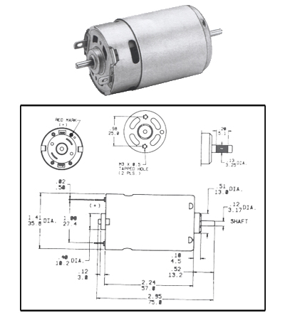 DC Motors / Gearmotors: CMO-1209 -12 Volt PMDC Motor Compact ReversibleMolon Motor & Coil Corporation